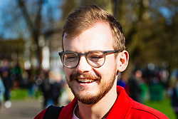 Alexander Cox, 25 from London gives his views on Brexit on Clapham Common in South London. London, March 24 2019.