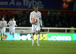 Christian Benteke of Liverpool takes the ball to center circle after going 2-1 down. - Mandatory byline: Alex James/JMP - 08/01/2016 - FOOTBALL - St James Park - Exeter, England - Exeter City v Liverpool - FA Cup Third Round