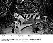 Bullingdon club memberasleep during the Christchurch May Ball, Oxford. 26 June 1981. film 8152f2<br />© Copyright Photograph by Dafydd Jones<br />66 Stockwell Park Rd. London SW9 0DA<br />Tel 0171 733 0108