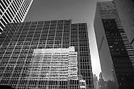 New York ; Times square district buildings reflection on 43 rd street / reflets des buildings sur la 43 me rue. quartier de Times square  New York  Usa