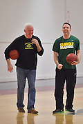 April 3, 2016; Indianapolis, Ind.; Head coach Ryan McCarthy and his dad share a laugh before the team's practice session at Harvest Pavilion on the Indiana State Fair grounds.