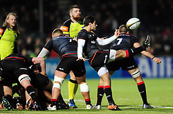 Henry Taylor of Saracens box-kicks the ball - Mandatory byline: Patrick Khachfe/JMP - 07966 386802 - 05/02/2017 - RUGBY UNION - Allianz Park - London, England - Saracens v Leicester Tigers - Anglo-Welsh Cup.
