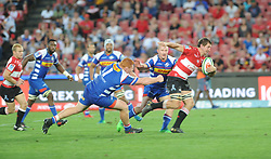 070418 Emirates Airlines Park, Ellis Park, Johannesburg, South Africa. Super Rugby. Lions vs Stormers. Lions player Kwagga Smith about to be tackled.<br />Picture: Karen Sandison/African News Agency (ANA)