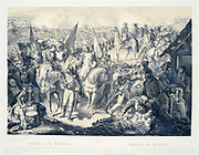 Battle of Marengo, 14 June 1800. French forces under Napoleon defeated Austrians. The French General Louis Desaix mortally wounded, taken away from the battlefield.  He died on 30 May.   Hand coloured lLithograph.