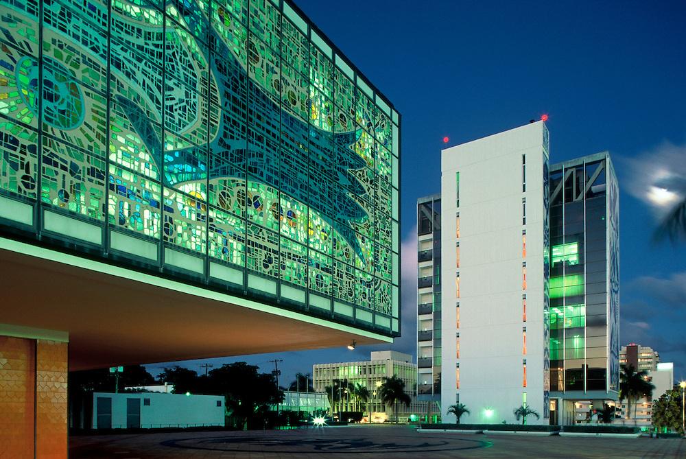 Bacardi Building 1964 Architect Enrique Guitierrez with cube added in 1973 by Ignacio Carrera-Justiz