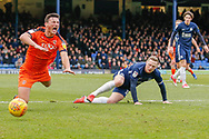 Southend United midfielder Sam Mantom (18) fouls Luton Town defender Matty Pearson (6) during the EFL Sky Bet League 1 match between Southend United and Luton Town at Roots Hall, Southend, England on 26 January 2019.