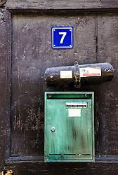 Mailbox on door in Bouxwiller, Alsace, France<br /> <br /> (c) Andrew Wilson   Edinburgh Elite media