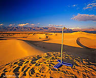 Water tap set up in Mesquite Flat Sand Dunes in Death Valley National Park in California