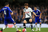 Son Heung-Min of Tottenham Hotspur looks to go past Cesc Fabregas of Chelsea. Barclays Premier league match, Chelsea v Tottenham Hotspur at Stamford Bridge in London on Monday 2nd May 2016.<br /> pic by Andrew Orchard, Andrew Orchard sports photography.