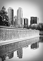 Bellevue, WA Downtown Park waterfall with sea gulls and the Bellevue Towers skyline - bw burn