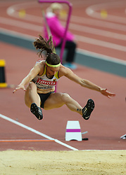 London, August 11 2017 . Claudia Salman-Rath, Germany, in the women's long jump final on day eight of the IAAF London 2017 world Championships at the London Stadium. © Paul Davey.