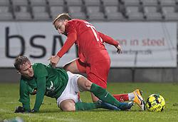 Magnus Kaastrup (Viborg FF) og Lucas Haren (FC Helsingør) under kampen i 1. Division mellem Viborg FF og FC Helsingør den 30. oktober 2020 på Energi Viborg Arena (Foto: Claus Birch).