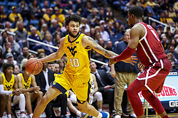 Feb 2, 2019; Morgantown, WV, USA; West Virginia Mountaineers guard Jermaine Haley (10) dribbles during the second half against the Oklahoma Sooners at WVU Coliseum. Mandatory Credit: Ben Queen-USA TODAY Sports