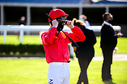 Jockey Pat Cosgrave in the parade ring - Mandatory by-line: Dougie Allward/JMP - 10/07/2020 - HORSE RACING - Bath Racecourse - Bath, England - Bath Races