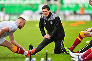 Motherwell FC Head of Sport Science, Andrew Boles during the warm up before the SPFL Premiership match between Hibernian FC and Motherwell FC at Easter Road, Edinburgh, Scotland on 27 February 2021.