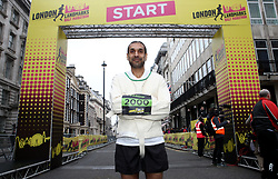 Pardip who will be running the 2018 London Landmarks Half Marathon in a straight jacket poses for a photo. PRESS ASSOCIATION Photo. Picture date: Sunday March 25, 2018. Photo credit should read: John Walton/PA Wire