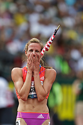 Olympic Trials Eugene 2012: women's 1500 meters final, Morgan Uceny reacts to winning race to make Olympic team