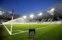 A general view of sprinklers watering the pitch prior to the beginning of the Premier League match at London Stadium.