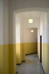 Passage hallway empty wall yellow apartment