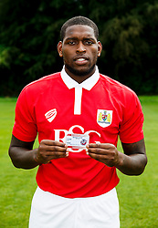 Jay Emmanuel-Thomas poses with his Bristol Flyers Basketball Season Ticket - Photo mandatory by-line: Rogan Thomson/JMP - 07966 386802 - 04/08/2014 - SPORT - FOOTBALL - BCFC Training Ground, Failand - Bristol City, 2014/15 Team Photos.