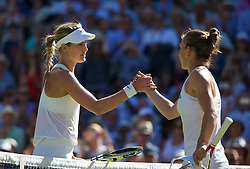 03.07.2014, All England Lawn Tennis Club, London, ENG, WTA Tour, Wimbledon, Tag 10, im Bild Eugenie Bouchard (CAN) shakes hands with Simona Halep (ROU) after winning the Ladies' Singles Semi-Final match 7-6 (5), 6-2 on day ten // during day 10 of the Wimbledon Championships at the All England Lawn Tennis Club in London, Great Britain on 2014/07/03. EXPA Pictures © 2014, PhotoCredit: EXPA/ Propagandaphoto/ David Rawcliffe<br /> <br /> *****ATTENTION - OUT of ENG, GBR*****