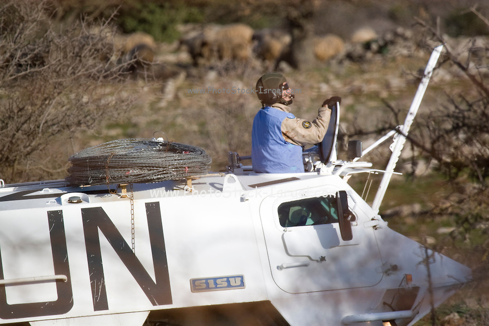 Israel, Golan Heights, A U.N. armored vehicle on the Israeli-Syrian border