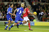 Photo: Pete Lorence.<br />Nottingham Forest v Millwall FC. Coca Cola League 1. 25/11/2006.<br />Junior Agogo slams the ball into the back of the net.