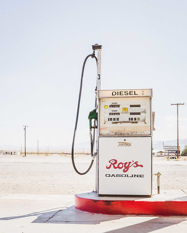 California lifestyle photographer Raymond Rudolph photographs a roadtrip stop at Roy's gas station along Route 66