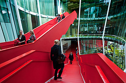 Interior of modern Dr AA Heimans van den Bergh-building at Utrecht University in The Netherlands; architect Erick van Egeraat