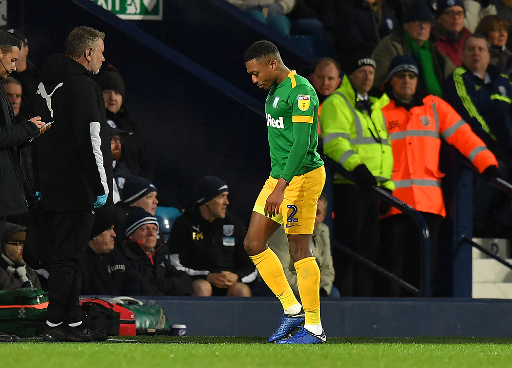 Preston North End's Darnell Fisher leaves the pitch after being red carded <br /> <br /> Photographer Dave Howarth/CameraSport<br /> <br /> The EFL Sky Bet Championship - West Bromwich Albion v Preston North End - Tuesday 25th February 2020 - The Hawthorns - West Bromwich<br /> <br /> World Copyright © 2020 CameraSport. All rights reserved. 43 Linden Ave. Countesthorpe. Leicester. England. LE8 5PG - Tel: +44 (0) 116 277 4147 - admin@camerasport.com - www.camerasport.com