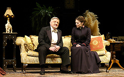 Major Barbara<br /> by Bernard Shaw<br /> at the Olivier Theatre, Southbank, London, Great Britain<br /> press photocall<br /> 3rd March 2008 <br /> <br /> Hayley Atwell (as Barbara Undershaft)<br /> Simon Russell Beale (as Andrew Undershaft)<br /> <br /> Photograph by Elliott Franks