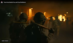 The latest television adverts for the British Army controversially include images of soldiers with riot shields and batons controlling angry crowds, with fears of a no deal Brexit growing, and the admission by the Ministry of Defence that preparations for military assistance are well advanced.<br />  <br /> © Dave Johnston/ EEm
