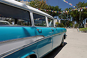 Vintage car Blue 1957 Chevrolet station wagon 210 side view