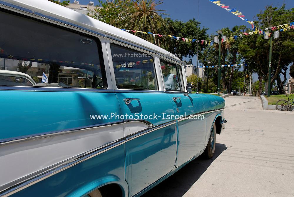 Vintage car Blue 1957 Chevrolet station wagon 210 side view