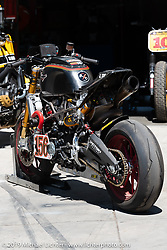 This 2015 Victory Octane 1299 cc prototype racer named the RSD Victory Project 156 was, with zero sleep, hand-built in 2-months, totaled in 2-minutes and rebuilt in 2-weeks. Parked behind the Roland Sands Design (RSD) retail and office location, Los Alamitos, CA. Monday June 25, 2018. Photography ©2018 Michael Lichter.
