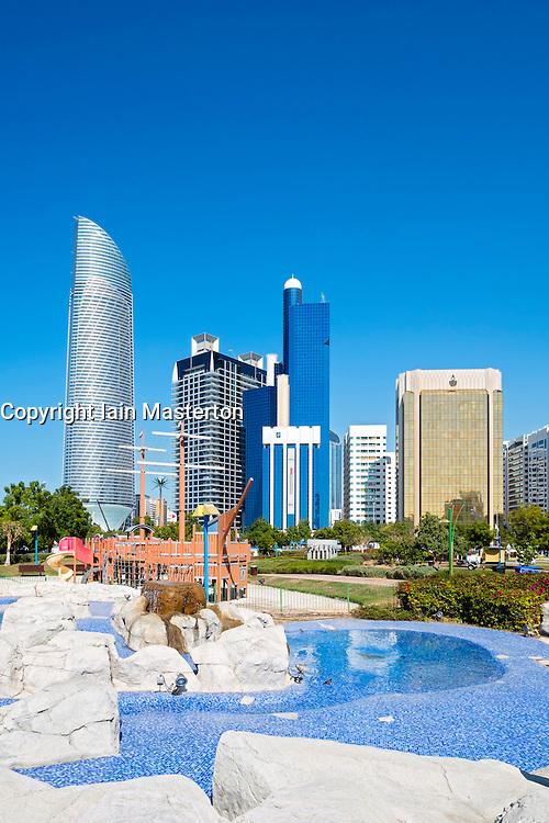 Skyline of modern high-rise buildings along Corniche in Abu Dhabi United Arab emirates
