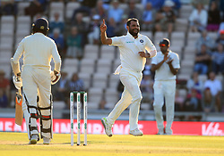India's Mohammed Shami celebrates taking the wicket of England's Adil Rashid during day three of the fourth test at the AGEAS Bowl, Southampton.