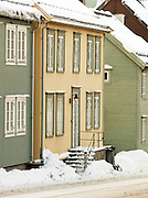 Wooden houses are common in the streets of Tromso, Norway