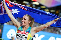 London, August 12 2017 . Sally Pearson, Australia, winner of the women's 100m hurdles final on day nine of the IAAF London 2017 world Championships at the London Stadium. © Paul Davey.