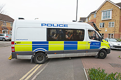 © Licensed to London News Pictures. 27/03/2019. Eltham,UK.Police van full of police officers patrolling the area. A teenager is in a life threatening condition after being stabbed in Eltham, London yesterday afternoon. A police cordon has been removed from the scene but left behind in an alleyway is a blood soaked t-shirt,oxygen mask and surgical gloves also covered in blood.<br /> Photo credit: Grant Falvey/LNP