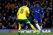 Willian of Chelsea (R) in action with Mario Vrancic of Norwich City (L). The Emirates FA Cup, 3rd round replay match, Chelsea v Norwich City at Stamford Bridge in London on Wednesday 17th January 2018.<br /> pic by Steffan Bowen, Andrew Orchard sports photography.