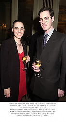 The HON.ANNUNCIATA REES-MOGG and her brother the HON.JACOB REES-MOGG, at a party in London on 8th February 2001.	OLE 33
