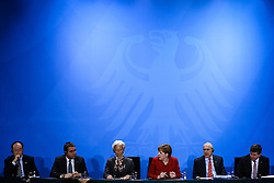 """(from L to R) World Bank Group President Jim Yong Kim, WTO Director General Roberto Azevedo, Christine Lagarde, Managing Director of the International Monetary Fund, German Chancellor Angela Merkel, Angel Gurria, general secretary of the Organisation for Economic Cooperation and Development and Guy Ryder, general secretary of the World Labour Organisation attend a joint press conference in Berlin, Germany, on April 5, 2016. Leaders of several international economic organizations called on governments to take """"decisive action"""" to strengthen reforms and boost growth at a meeting hosted by German Chancellor Angela Merkel in Berlin on Tuesday. EXPA Pictures © 2016, PhotoCredit: EXPA/ Photoshot/ Zhang Fan<br /> <br /> *****ATTENTION - for AUT, SLO, CRO, SRB, BIH, MAZ, SUI only*****"""