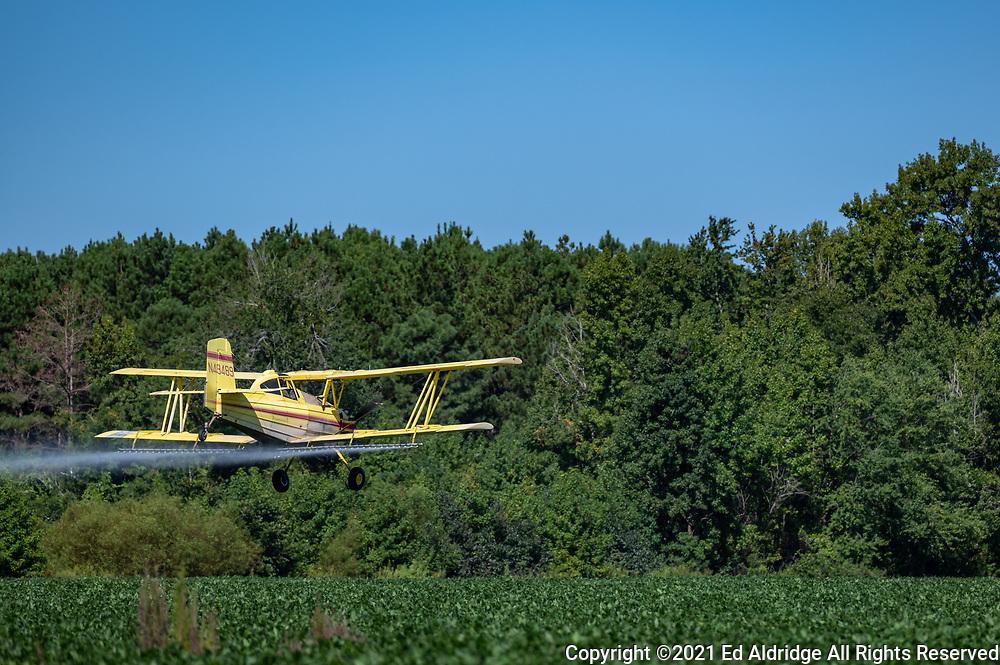 Crop duster spraying fields in rural South Carolina in a bi-plane. Image taken by Ed Aldridge with a NIKON Z 6_2 and NIKKOR Z 70-200mm f/2.8 VR S at 200mm, ISO 100, f3.5, 1/2000.