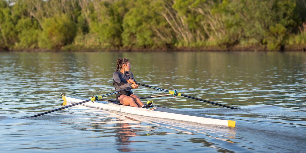 Veronica Wall, Ashburton Rowing Club<br /> <br /> SRPC squad training on the lower Waimakariri River, Stewarts Gully, Canterbury. Monday 19 November 2018 © Copyright photo Steve McArthur / @RowingCelebration