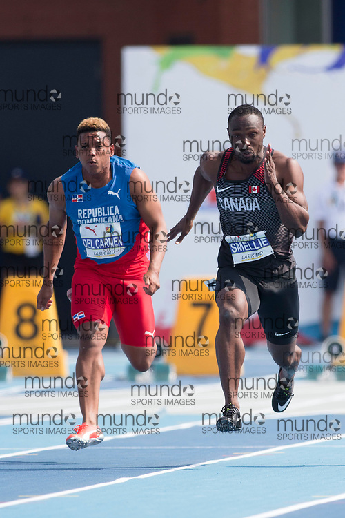 Toronto, ON -- 11 August 2018: Gavin Smellie (Canada), 100m at the 2018 North America, Central America, and Caribbean Athletics Association (NACAC) Track and Field Championships held at Varsity Stadium, Toronto, Canada. (Photo by Sean Burges / Mundo Sport Images).