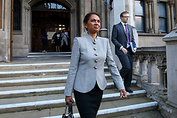 © Licensed to London News Pictures. 17/10/2016. London, UK. Investment manager GINA MILLER leaves the High Court in London during the second day of a legal challenge to a government decision not to seek parliamentary approval over Brexit negotiations. Ms Miller argues that individual members of the Cabinet have no legal power to trigger Article 50 of the Lisbon Treaty to leave the European Union without the prior authorisation of Parliament and MPs. Photo credit: Tolga Akmen/LNP