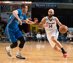 March 20, 2017 - Reno, Nevada, U.S - Reno Bighorn Guard KENDALL MARSHALL (14) drives against Texas Legends Guard KYLE COLLINSWORTH (6) during the NBA D-League Basketball game between the Reno Bighorns and the Texas Legends at the Reno Events Center in Reno, Nevada. (Credit Image: © Jeff Mulvihill via ZUMA Wire)