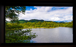 View from Osprey birdwatching hide at Scottish Wildlife Trust visitor centre at Loch of the Lowes, new Dunkeld in Perthshire, Scotland, UK