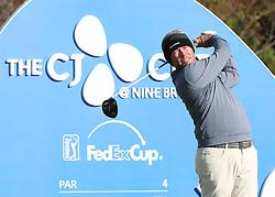 Oct 18, 2018-Jeju, South Korea-Chez Reavie of USA action on the 10th tee during the PGA Golf CJ Cup Nine Bridges Round 1 at Nine Bridges Golf Club in Jeju, South Korea.